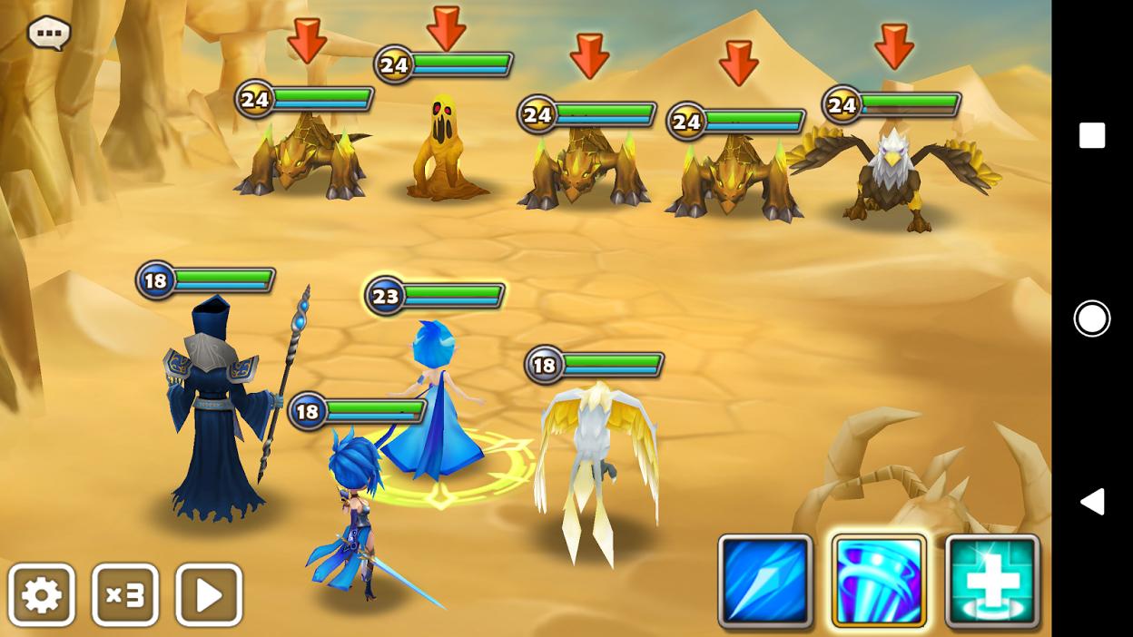 Die roten Pfeile zeigen, dass die Gegner mit überlegenen Elementen ausgestattet sind.