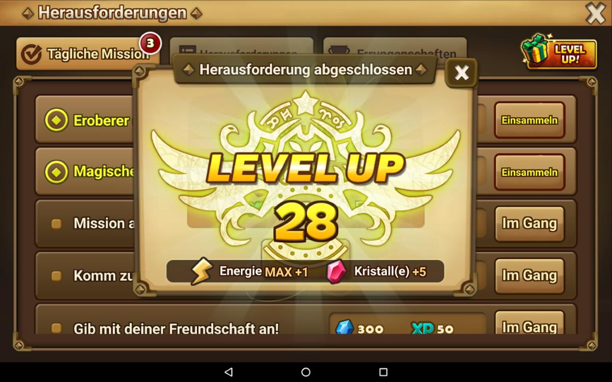 Level 28 bin ich inzwischen – ohne einen Cent in Ingame-Einkäufe investiert zu haben.